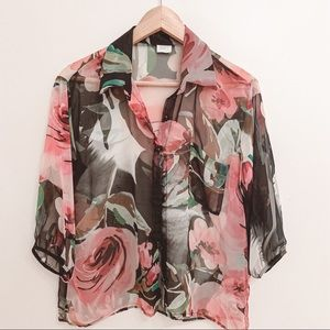 Suzy Shier Sheer Floral Blouse